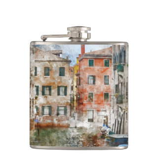 Venice Italy Watercolor Hip Flask