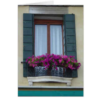Venice Italy Window Box Blank Card
