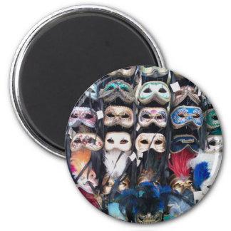 Venice masks 6 cm round magnet