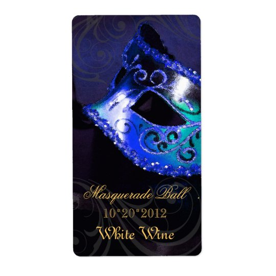Venice Masquerade Blue Wine Holiday Label Shipping Label