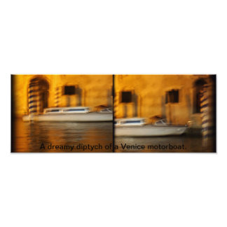 Venice motorboat diptych photo print