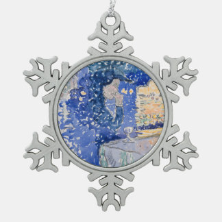 Venice Night of the Festival of the Redeemer Snowflake Pewter Christmas Ornament