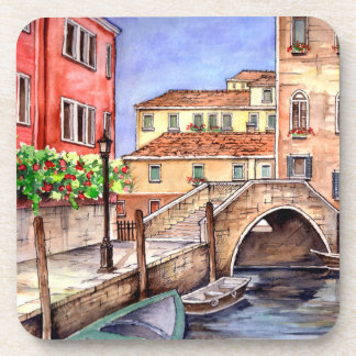 Venice - Pen & Wash Watercolor Coaster