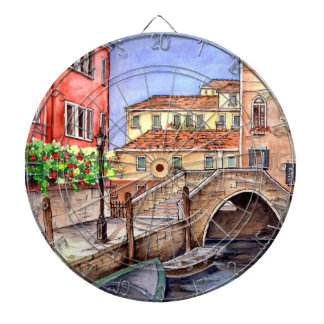 Venice - Pen & Wash Watercolor Dartboard