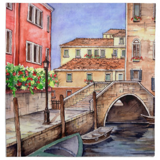 Venice - Pen & Wash Watercolor Napkin