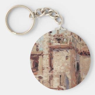 Venice. Pipes. by Vasily Polenov Basic Round Button Key Ring
