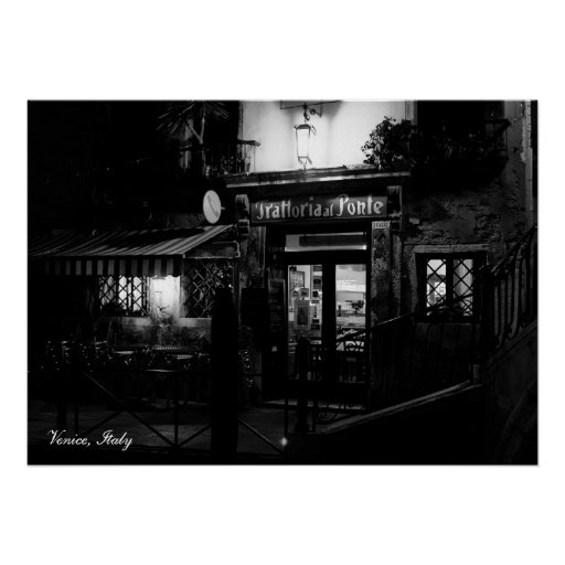 Venice Restaurant at Night Posters