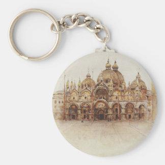 Venice. Saint Mark's Basilica. by Vasily Surikov Basic Round Button Key Ring