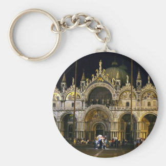 VENICE SAN MARCO SQUARE BASILICA BASIC ROUND BUTTON KEY RING