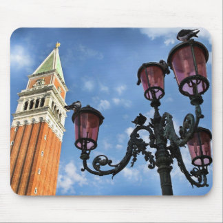 Venice San Marco Tower and Street Lights Mouse Pad