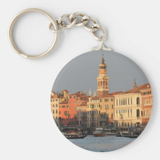 Venice Sunset at the Rialtro Bridge Basic Round Button Key Ring