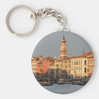 Venice Sunset at the Rialtro Bridge Basic Round Button Key Ring