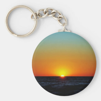 Venice Sunset Basic Round Button Key Ring
