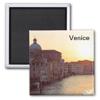 Venice,Sunset on the canal grande Square Magnet