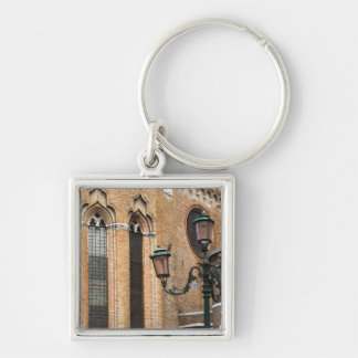 Venice, Veneto, Italy - A lamp post is standing Silver-Colored Square Key Ring