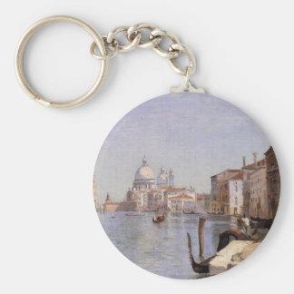 Venice - View of Campo della Carita looking ... Basic Round Button Key Ring