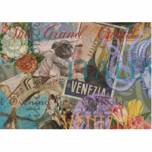 Venice Vintage Trendy Italy Travel Collage Photo Cutout