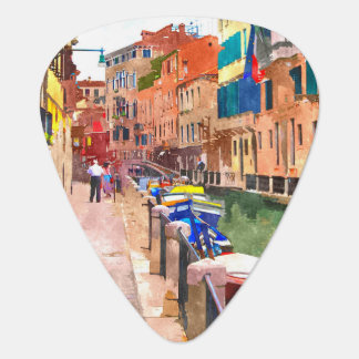 Venice watercolor painting guitar pick