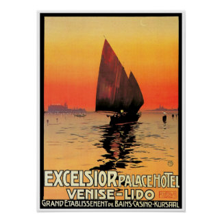 Venise / Venice Italy Sailboat Sunset Vintage Poster