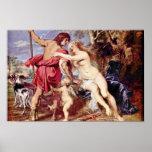 Venus And Adonis By Rubens Peter Paul Print
