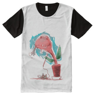 venus flytrap and kitty funny cartoon All-Over print T-Shirt