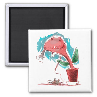 venus flytrap and kitty funny cartoon magnet