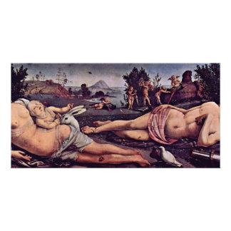 Venus, Mars And Cupid, Italian: Venere E Marte Amo Custom Photo Card