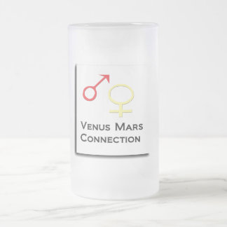 Venus Mars Connection Frosted Glass Beer Mug