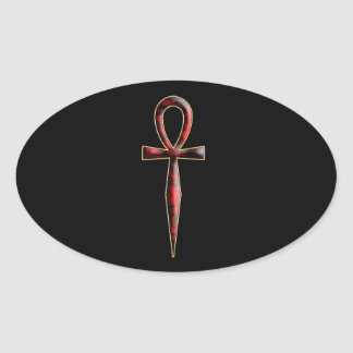 ver 01 – Ankh – black background Oval Sticker