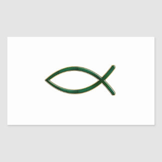 ver 01 - Jesus Fish - Clear Background Rectangular Sticker