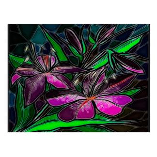 Veranda Stain Glass Folk Art Postcard