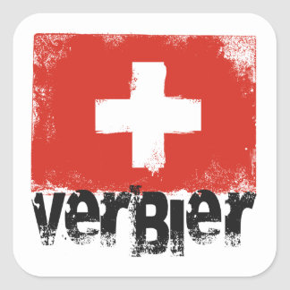 Verbier Grunge Flag Square Sticker