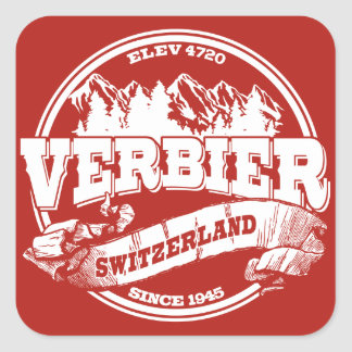 Verbier Old Circle Red Square Sticker