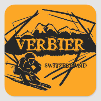Verbier Switzerland orange ski logo stickers