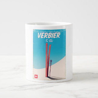 Verbier, Switzerland vintage ski travel poster. Large Coffee Mug