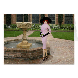 Verdi - Pink Attire, Fountain at Christ Church Card