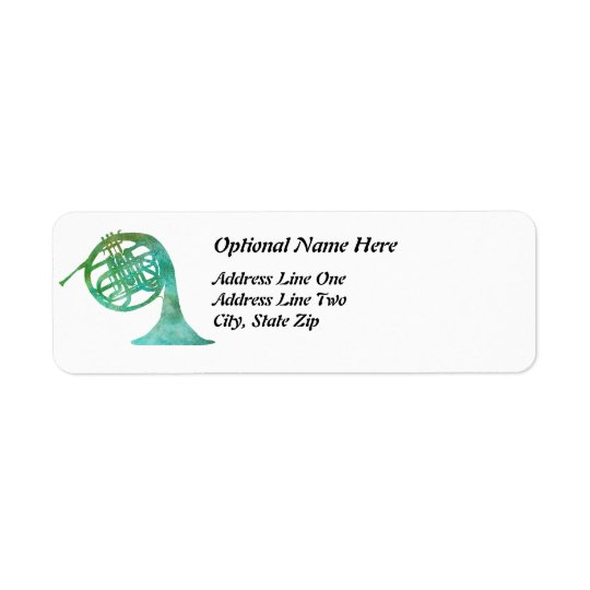 Verdigris French Horn Return Address Label