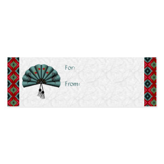 Verdigris Green Dragon Fan Pixel Art Double-Sided Mini Business Cards (Pack Of 20)