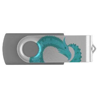 Verdigris heart dragon USB flash drive