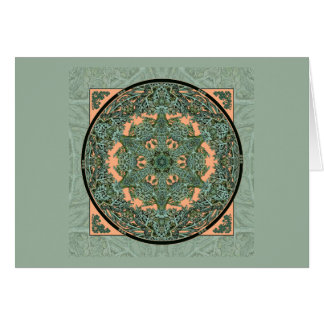 Verdigris Leaf Mandala Custom Note Card Template