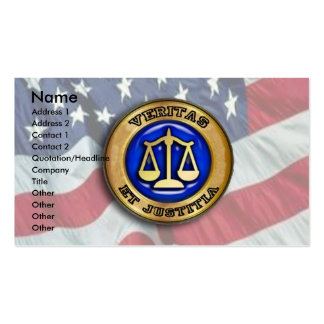 Veritas et Justitia on US FLag Business Cards