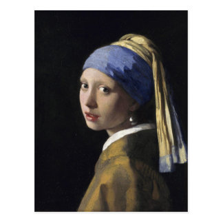 Vermeer Painting - Girl With a Pearl Earring Postcard