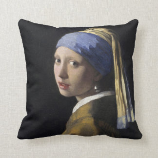 Vermeer Painting - Girl With a Pearl Earring Throw Cushions