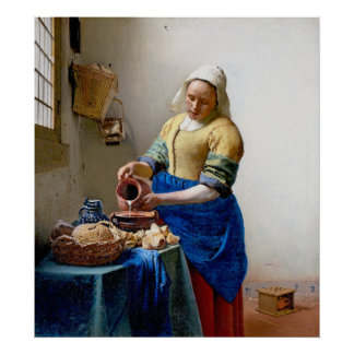 Vermeer - The Milkmaid - Vintage Art Poster