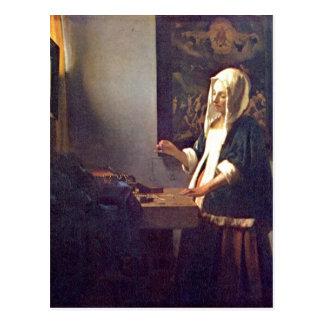 Vermeer van Delft, Jan Die Perlenw?gerin Woman Hol Postcard