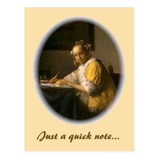 Vermeer's Letter Writer Postcard