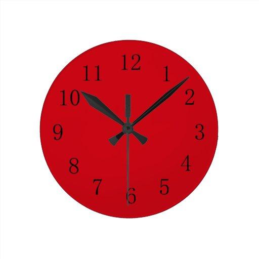 Vermilion Red Kitchen Wall Clock