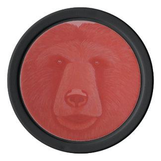 Vermillion Bear Poker Chips
