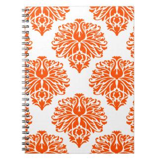 Vermillion Elegant Damask Spiral Notebook