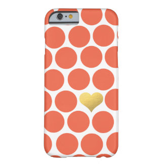 Vermillion Orange Polka Dot Gold Foil Heart iPhone Barely There iPhone 6 Case